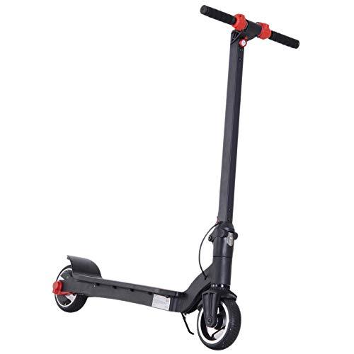 Homcom Trottinette électrique Pliable 250 W pour Adulte Enfant 14 Ans Min. 25 Km/h Max. autonomie 15 km Max. Lampe LED Avant alu Noir Rouge