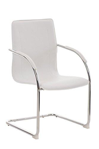 Schwingstuhl Freischwinger mit Metall-Gestell und Kunstleder Sitz für die Küche, bequem mit Armlehnen, sehr pflegeleicht