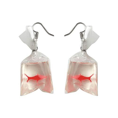 Dorical Funny Ohrringe für Damen Mädchen 1 Paare Lustiger Goldfisch-Wasserbeutel-Form baumeln Haken-Ohrring-weiblicher Charme-Schmuck, Party Hochzeit Schmuck Schick Hängeohrringe(Rot)