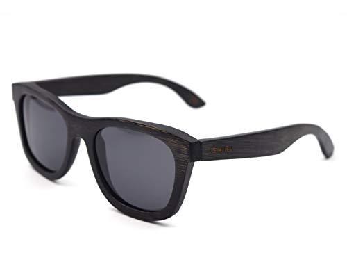 LEMIEL® Xander - DIE ÖKO HOLZBRILLE - Exklusive polarisierte Sonnenbrille aus Holz für Damen und Herren - Nachhaltig - mit Bambus Etui - Männer & Frauen - UV 400-1 Artikel = 1 Baum. (Dunkler Bambus)