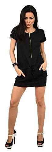 Capri Moda - Femme robe manches courtes poches encolure fermeture éclair - 4091 Noir
