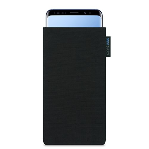 Adore June Classic Schwarz Tasche für Samsung Galaxy S9 Plus / S9+ Handytasche aus widerstandsfähigem Cordura Stoff | Robustes Zubehör mit Bildschirm Reinigungs-Effekt | Made in Europe