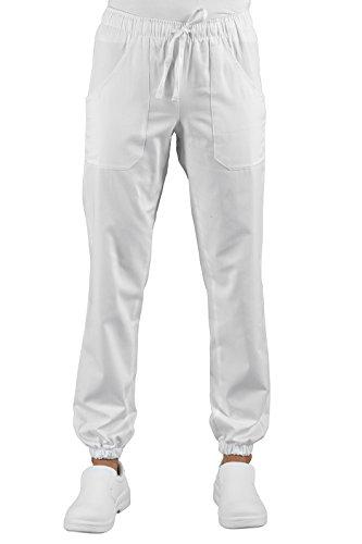 Pantaloni Medicale Infermiere Bianco Uomo Donna Con Elastico Sulla Caviglia Super Stretch 044878 (M)