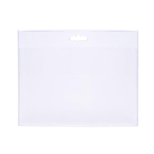 50 Stück transparente Kunststoff-Ausweishüllen, im Format 90x60 mm (Querformat) als Schutzhülle für Karten - Kartenhalter - Steckkartenformat aus Soft PVC für Schlüsselbänder/Lanyards