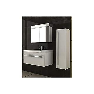 alpenberger® Garda 900 Bathroom Vanity Sink Unit Wall Hung Bathroom Washbasin and Cabinet in White Bathroom Furniture