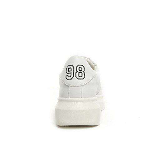Frühling und Sommer Damen Mesh Schnüren Lässige Flach Sportschuhe im Freien Modische Bequeme Dicke Sohle Atmungsaktive Sneakers Weiß