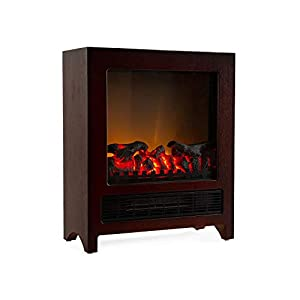 Klarstein Zermatt Electric Fireplace with Flame Effect • 750/1500 W • Switchable Heating Function • Thermostat • InstaFire Principle • 20 m² • Retro Design • Wenge