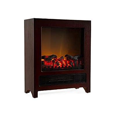 Klarstein Zermatt Electric Fireplace with Flame Effect • 750/1500 W • Switchable Heating Function • Thermostat • InstaFire Principle • 20 m² • Retro Design • Wenge
