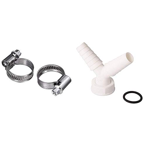 Xavax 2er Set Schlauchschellen mit Schneckenantrieb, Spannbereich 20 - 32 mm, Bandbreite 9 mm & Y-Schlauchverschraubung | Zum Anschluss der Ablaufschläuche zweier Waschmaschinen oder Spülmaschinen
