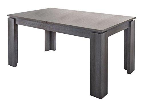 trendteam ET Esstisch Küchentisch ausziehbar | Rauchsilber | 160 - 200 x 90cm