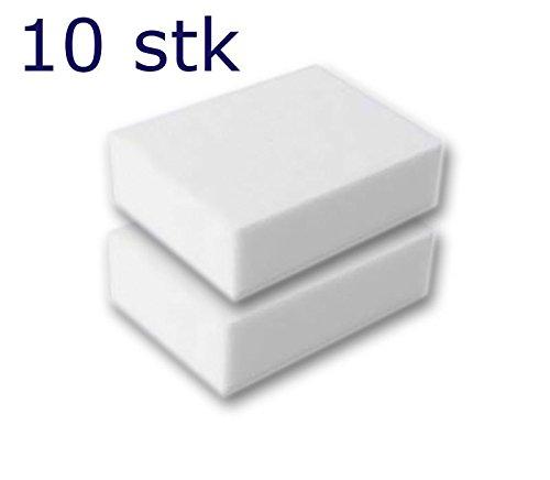10 Stück Reinigungsschwamm, Radierschwamm, Schmutzradierer, Wunderschwamm je 10x7x3 cm weiss