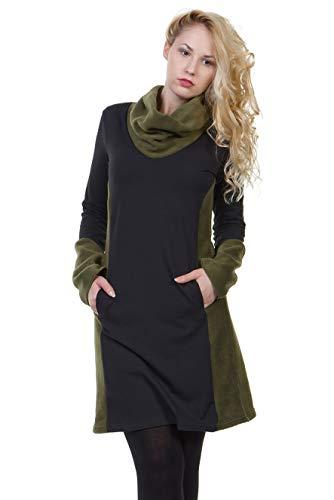 Jerseykleid Damen Langarm von DREI Elfen Alinie Kleider locker Langer Rock Frauen schwarz grün Fleece L Winterkleid