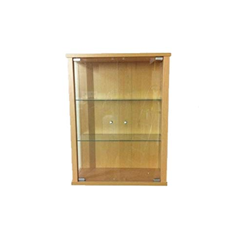 K-Möbel Hängevitrine Sammlervitrine Vitrine Hängeschrank Buche Dekor 2 Glaseinlegeböden 80x60x25 cm