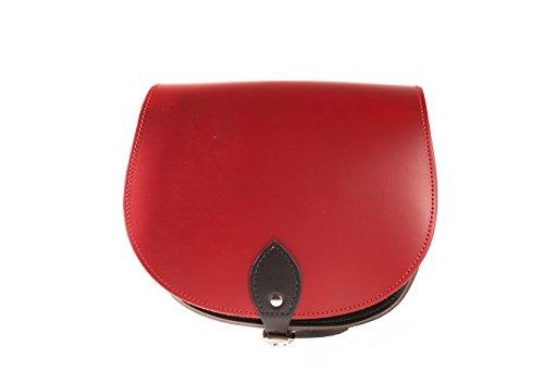 Rouge et Noir Deux couleurs / Dual / Contraste / de cuero real Cuerpo Cruz Saddle Sac ˆ main avec sangle rŽglable et fermeture ˆ boucle. Disponible dans de nombreuses combinaisons