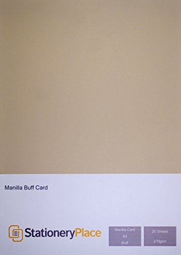 Stationery Place Thick Kraft Card 270 GSM Manilla A4 25 Sheet Pack
