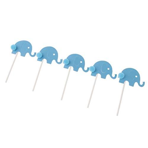 Baoblaze 12x Kuchendeckel Kuchen Topper Cupcake Picks Tortenstecker Muffin Dekoration mit Elefant Figur - Blau