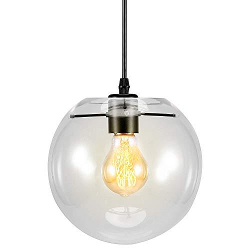 Lightsjoy Industrial Pendelleuchte Glas Kugel 1-flammig Hängeleuchte Hängelampe Klarglas Pendellampe Kronleuchter Hängened Industrielampe Glaslampe für Wohnzimmer Esszimmer Küche Restaurant Cafe Bar …