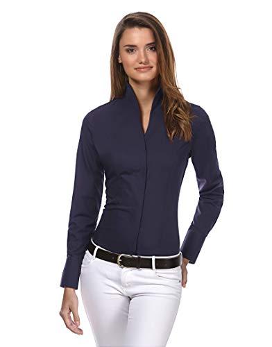 Vincenzo Boretti Damen Bluse mit Kelchkragen leicht tailliert 100% Baumwolle bügelleicht Langarm Hemdbluse mit Stehkragen elegant festlich auch für Business dunkelblau 38 - Damen 100% Seide Bluse
