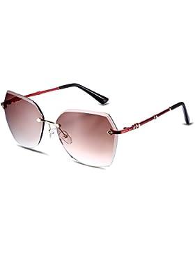 NYKKOLA Fashion gafas de sol polarizadas lentes sin montura gafas para mujeres gafas de protección UV400, gold...