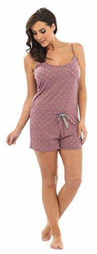 Pyjama Combi-Short Combinaison Léger Motif Étoile Tenue de Nuit Femme Rose
