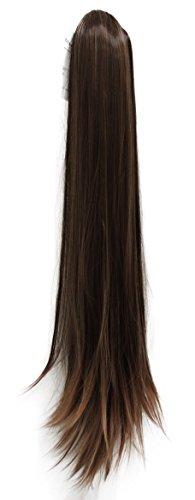 PRETTYSHOP Haarteil Hair Piece Zopf Pferdeschwanz glatt Haarverlängerung 50cm oder 70cm hitzebeständig wie Echthaar div. Farben (70cm braun mix (#2T30 H81))