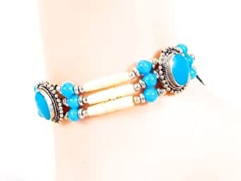 Western Express - Collier Western Texas style country Indien Traditionel Bone Chockers Turquoise - Os - Made in USA # CN-011