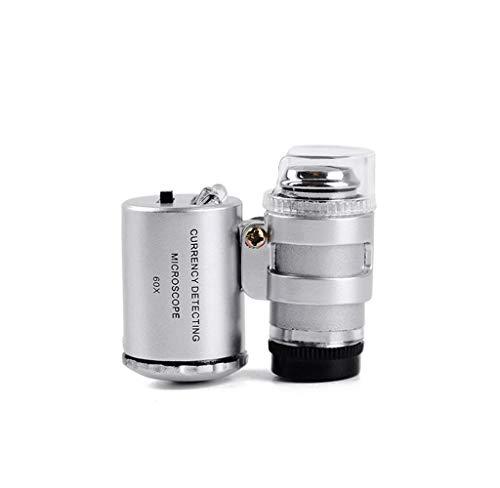 Mini 60x Mikroskop mit Licht vergrößern, für Schmuck, Münzen, Drucksachen, Stoffe, Tabakwaren, Gemälde, Sammlerstücke usw (Vergrößern Münzen)