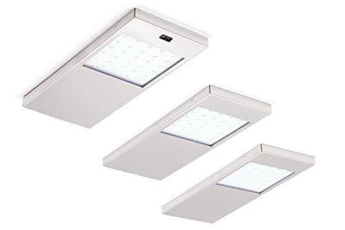 Hochwertiges 3er Set LED Unterbauleuchte Küchenleuchte Aufbauleuchte Küchenlampe 4W Warmweiß Edelstahlgebürstet mit Sensorschalter -
