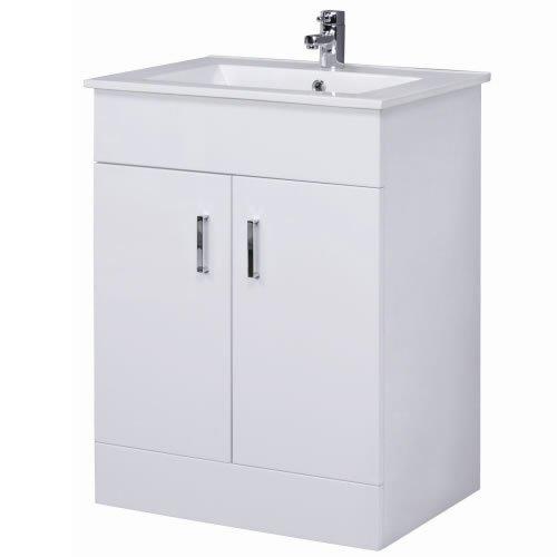 Trueshopping Bathroom Vanity Unit Basin White Cabinet Storage Furniture FREE Tap