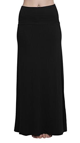 Schwarzer Zigeuner Kleid (Damen Rock Lange Elastischer Strertchy Zigeuner Maxi Rock (L,)