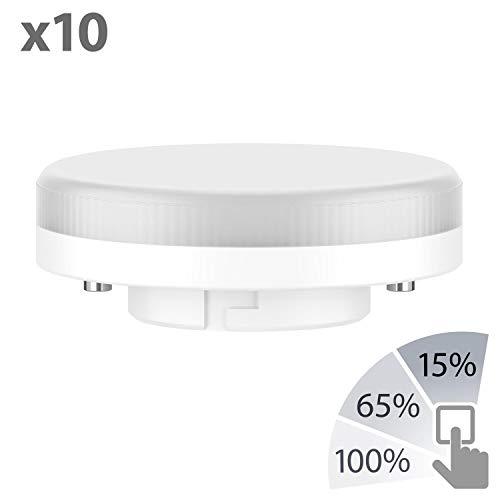 ledscom.de GX53 LED Lampe 6W=38W 420lm weiß 3-Stufen Dimmen ohne Dimmer mit Schalter, 10 STK. (Installieren Lichtschalter Dimmer)