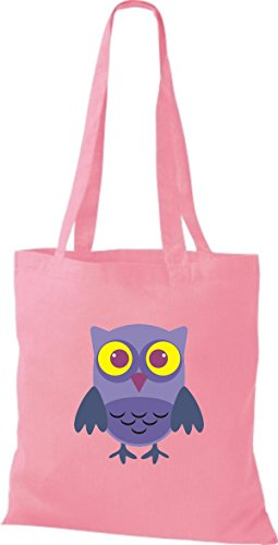 ShirtInStyle Jute Stoffbeutel Bunte Eule niedliche Tragetasche mit Punkte Owl Retro diverse Farbe, weiss rosa