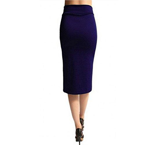 WintCO Damen Elegant Bleistiftrock Bleistift Pencil Skirt Rock Midi Rock Büro Etui Röcke Violett