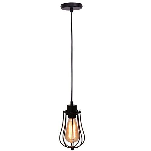 Vintage Hängelampe (COSTWAY Antik Vintage Retro Hängelampe Hängeleuchte Pendelleuchte Pendellampe Deckenleuchte Deckenlampe Deckenlicht Treppenlampe Badlampe Flurlampe mit Vogelkäfig-Lampeschirm E27 / 40W Glühbirne)