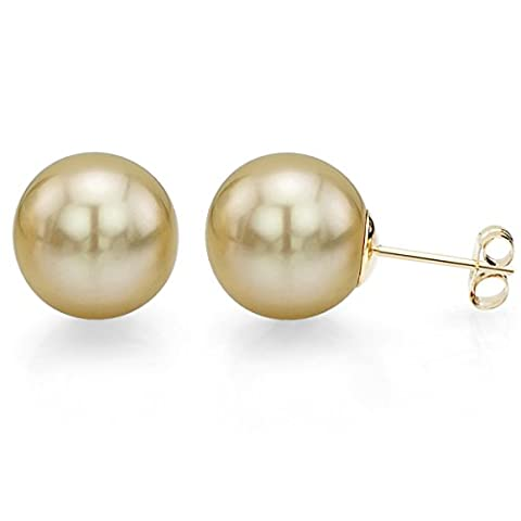 14K Yellow Gold 10-10.5mm Round Golden South Sea Cultured High Lustre Pearl Stud Earrings