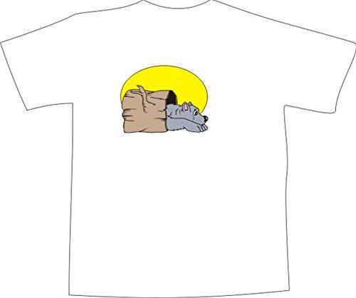T-Shirt E500 Schönes T-Shirt mit farbigem Brustaufdruck - Logo / Grafik - Comic Design - Bär mit Baumstamm im Mondschein Schwarz
