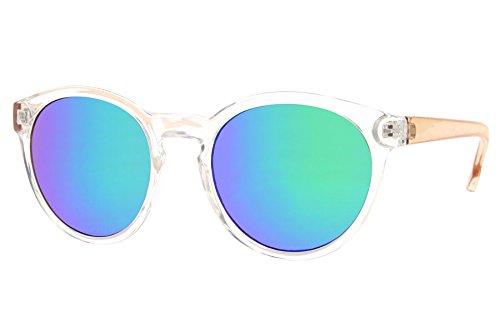 Cheapass Sonnenbrille Rund Transparent Verspiegelt Blau Grün Plastik Retro Damen Herren