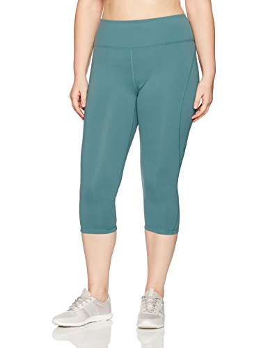 SHAPE activewear Women's Plus Size S Seam Capri, Sea Pine, 3X