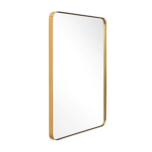 JIZI Espejo de Pared para baño, Espejo Moderno con Marco de Aluminio Dorado, Espejo Rectangular Negro...