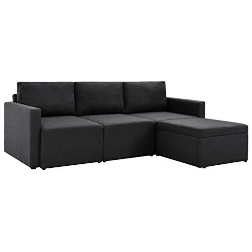 Festnight divano letto angoalre moderno per soggiorno a 3 posti in tessuto marrone/grigio 215 x 151 x 72 cm