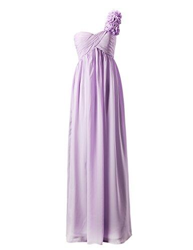 Dresstells, Epaule asymétrique robe de soirée , robe de cérémonie une ligne avec fleur, robe longue de demoiselle d'honneur Champagne