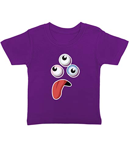 Artdiktat Baby T-Shirt | Happy Niedliche Monster Cartoon Motiv | D291 D291 | Size 2, violett