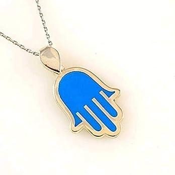 Sterling Silber 925 Blau Hamsa Charme Amulett Damen Anhänger Halskette 40+5cm Kette – mit Elegante Geschenkbox