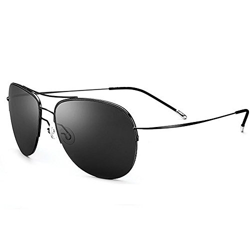Xiuxiushop Vintage Retro Polarisierte Sonnenbrille Für Männer Outdoor-Sport Ultraleichte Metallic Metallrahmen HD Objektiv Gläser Air Force Unisex UV 400 Schutz (Color : Black)