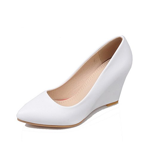 AgooLar Femme à Talon Haut Matière Souple Couleur Unie Tire Pointu Chaussures Légeres Blanc