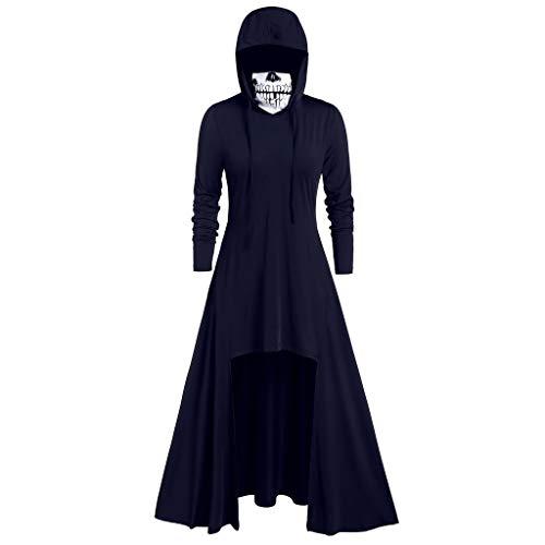 GOKOMO Halloween Blusenkleid Damen Knielang Langarm Pullover Damen Lang Pullover Gothic Tops Blusen Oberteile Damen Langarm Mit Kapuze Maske SchäDel Kinder Maske Scream(Navy Blue,XXX-Large) (Sexy Vinyl Krankenschwester Kostüm)