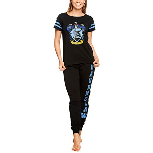 HARRY POTTER Pijama Ravenclaw para Mujer Escudo de Armas 2pcs Elven Forest Cotton Black - XL