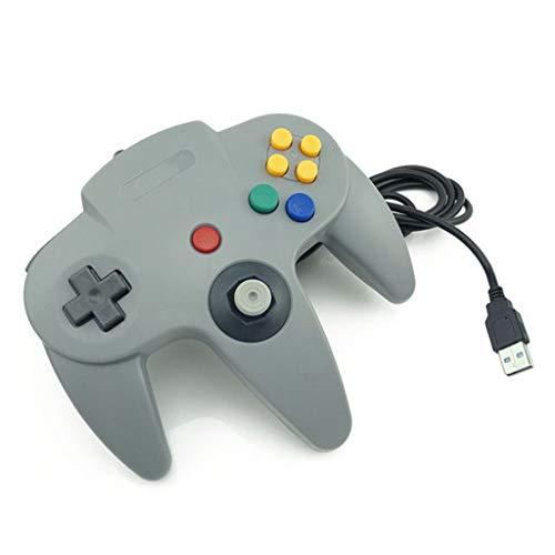GKZQYXJ Gamepad, N64 SNES Griff, klassischer Super Retro-USB-Spiele-Controller Type C Interface grau (Super Controller 64 Nintendo)