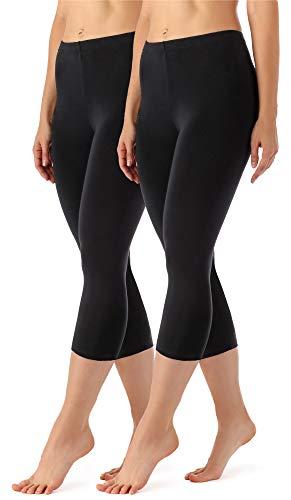 Merry Style Damen Leggings 3/4 2 Pack MS10-144 (Schwarz/Schwarz, XXL (Herstellergröße: 44))