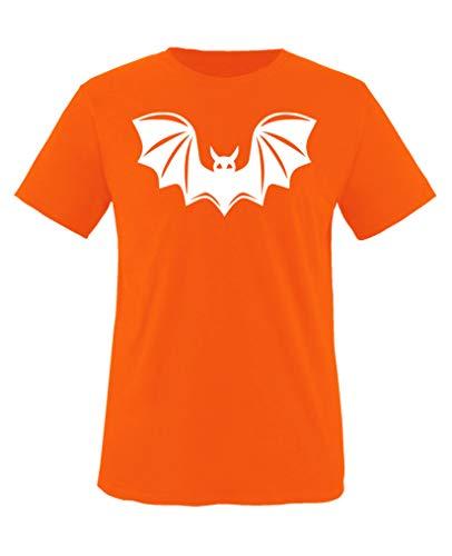 Comedy Shirts - Halloween Fledermaus - Jungen T-Shirt - Orange/Weiss Gr. 134-146